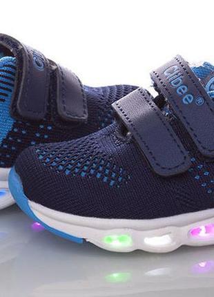 Светящиеся кроссовки led мигалки для мальчика с супинатором на...