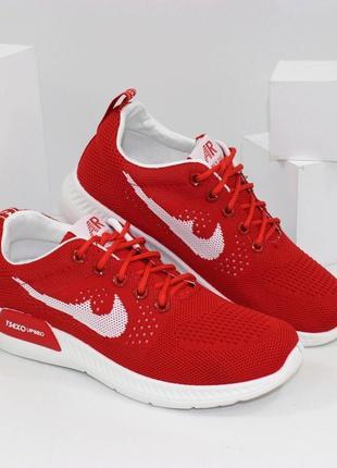 Женские красные текстильные кроссовки