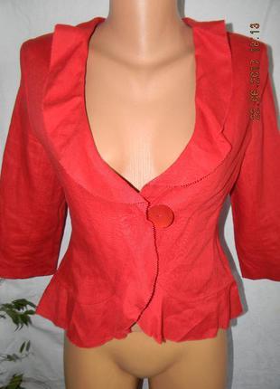 Новый красный жакет-кардиган лен