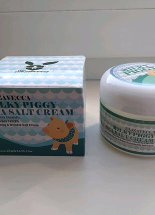 Корейский крем для лица Elizavecca Milky Piggy Sea Salt 100г.