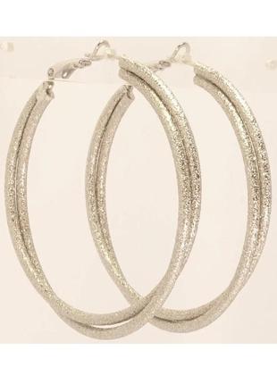 Серьги-кольца двойные с шагренью, xuping, ювелирная бижутерия