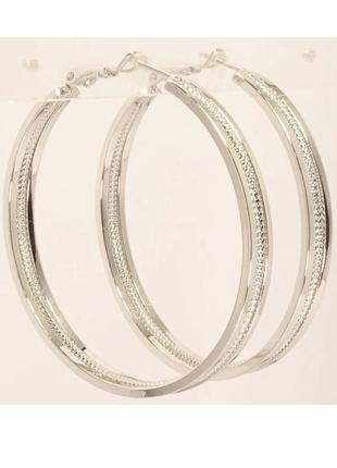 Серьги-кольца с орнаментом, родированные, xuping, ювелирная би...