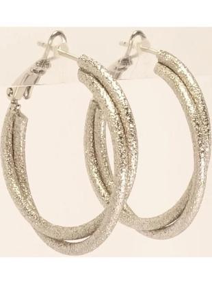 Серьги-кольца двойные с шагренью, родированные, d.30mm, xuping...