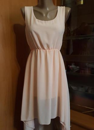 Шифоновое платье персикового цвета