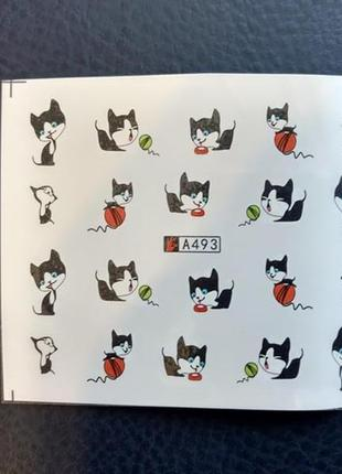 Наклейки слайдеры для дизайна ногтей маникюра педикюра с кошка...