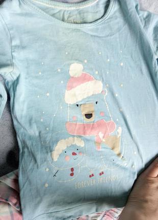 Пижама детская домашний костюм штаны и кофта с рисунком мишка
