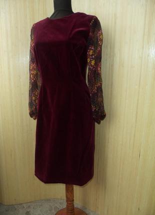 Платье футляр натуральный бархат в деловом / офисном стиле