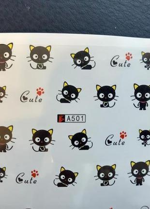 Наклейки слайдеры для дизайна ногтей маникюра педикюра с котам...