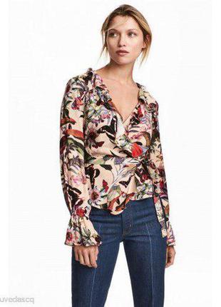 Роскошная цветочная блуза с воланами h&m размер m