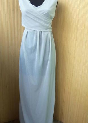 Серебристо  белое вечернее длинное нарядное платье в пол