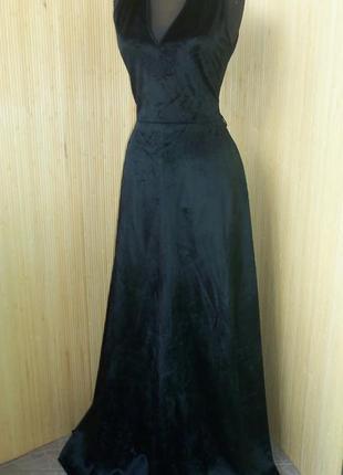 Вечернее чёрное велюровое шёлковое платье miss lagotte ml