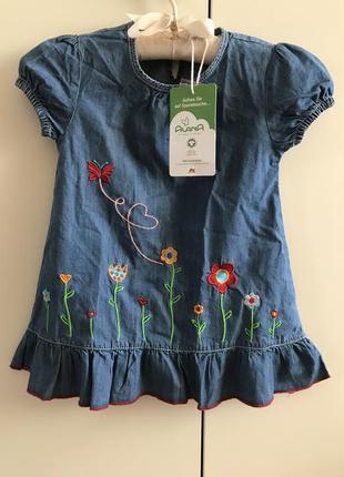 Джинсовое платье с вышивкой alana на рост  86-92 см