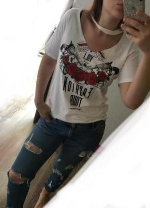 Стильная белая с принтом футболка хлопковая женская новая House