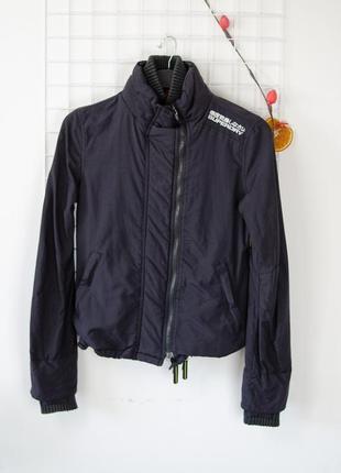 Акция superdry черная легкая демисезонная куртка, на весну, ве...