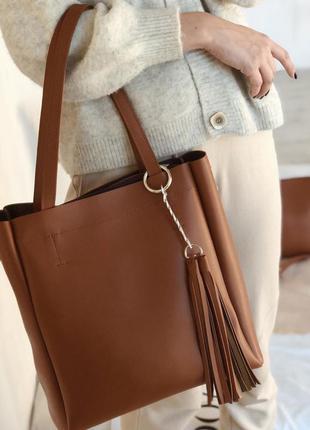 Комплект из двух рыжих сумок: большая сумка - шоппер и клатч -...