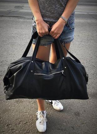 Дорожная сумка из натуральной кожи. спортивная кожаная сумка.