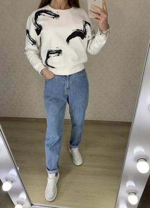 Голубые плотные джинсы mom bershka