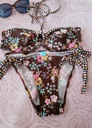 Раздельный купальник ocean club коричневый в принт цветы