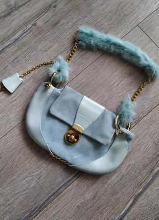 Cal'uka st.tropez, оригинал! бирюзовая сумочка из натуральной ...
