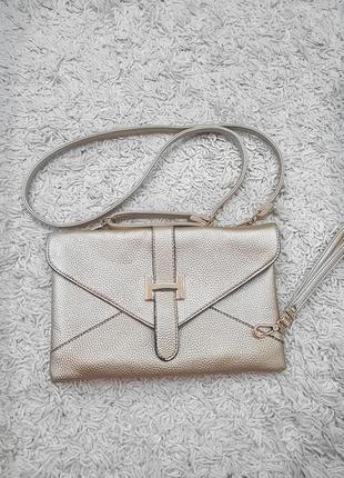 Клатч, сумочка через плечо, нарядная сумка золотистого цвета