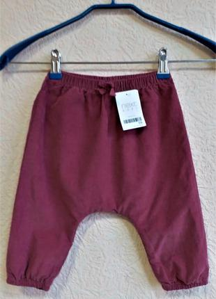 Вельветовые штанишки на девочку 9-12 месяцев next
