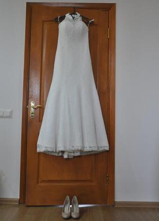 Свадебное платье а силуэта со шлейфом на маленький рост  цвета...