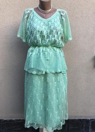 Винтаж,вязанный,ажур,кружево костюм(юбка+блуза реглан(кофточка...