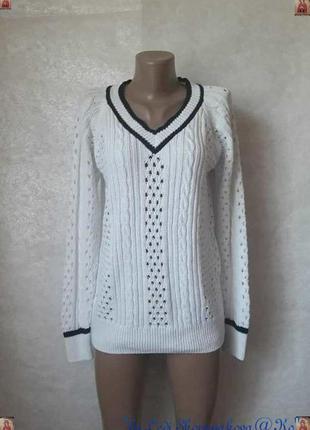 Фирменный tu белоснежный свитер в синюю полоску в оригинальную...