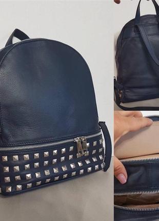 Большой городской рюкзак кожа италия оригинал с заклепками