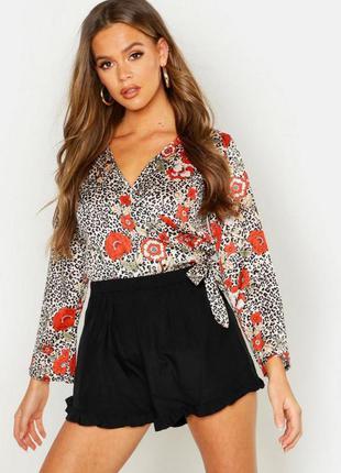Новая блузка с леопардовым принтом на запах boohoo (к073)