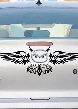 Наклейка на авто Сова Чёрная на значок авто