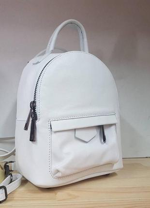 Мини рюкзак - сумка  кожа италия цвет белый