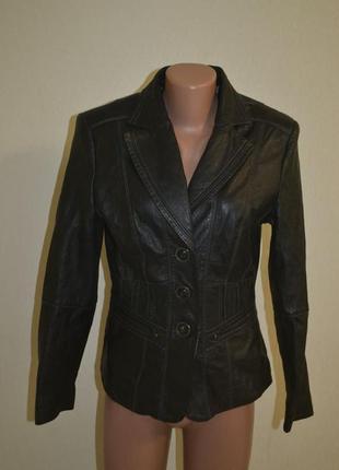 Женская кожаная куртка пиджак