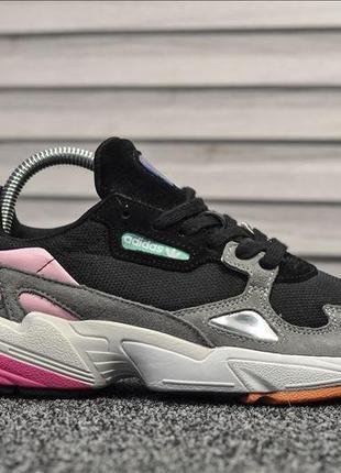 Adidas falcon 🔺 женские кроссовки адидас фелкон черный/розовый