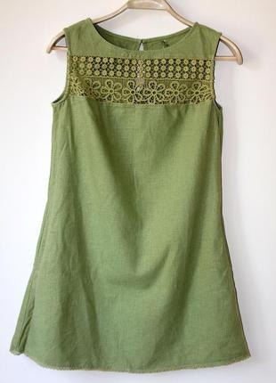 Льняное платье с кружевом next