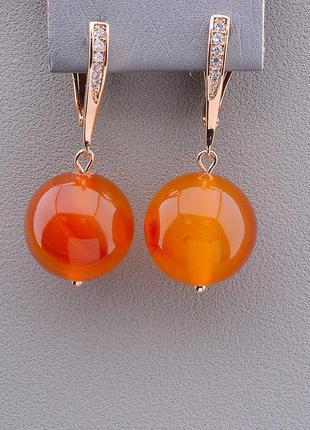 Серьги 'sunstones' сердолик (позолота 18к)