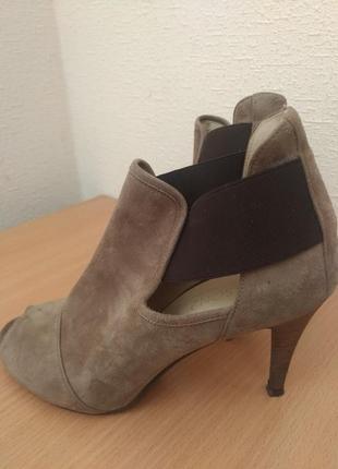 Натуральная кожа и замша, туфли ботильоны открытый носок
