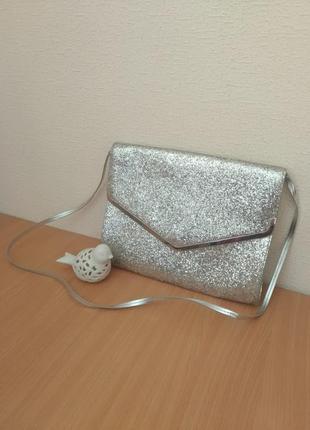 Блестящий клатч сумочка конверт объемный сумка в блестках глитер
