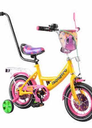 """Детский двухколёсный велосипед 12"""" с ручным тормозом и страховочн"""