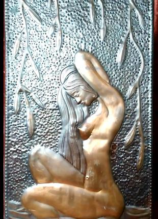 Чеканка девушка эротика панно обнажённая НЮ картина натура