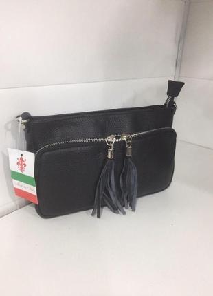 Черная кроссбоди сумочка кожа италия