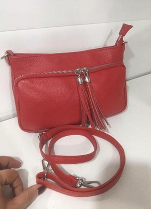 Красная сумочка кожа италия кроссбоди