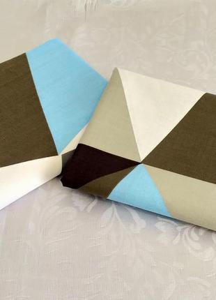 Наволочки из пакистанской бязи gold - цветные треугольники, бы...