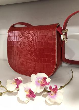 Красная сумочка кроссбоди италия кожа принт рептилии