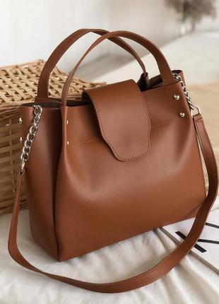 Рыжая вместительная сумка шоппер (есть цвета)