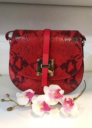 Красная кроссбоди кожа италия сумочка принт змеи