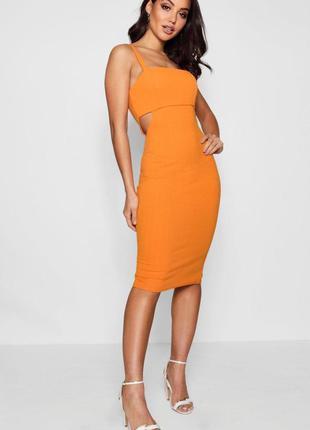 Оранжевое платье миди с вырезами от boohoo размер 14uk