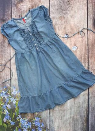 Платье джинсовое с завышенной талией