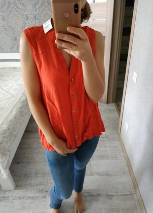 Новая с бирками коралловая красивая вискозная блуза дорогого б...