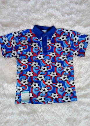 Хлопковые  футболки поло для мальчика цвет синий два размера